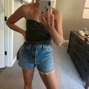 Free people army green tube top Xs